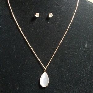 Rose gold tone stud and necklace set